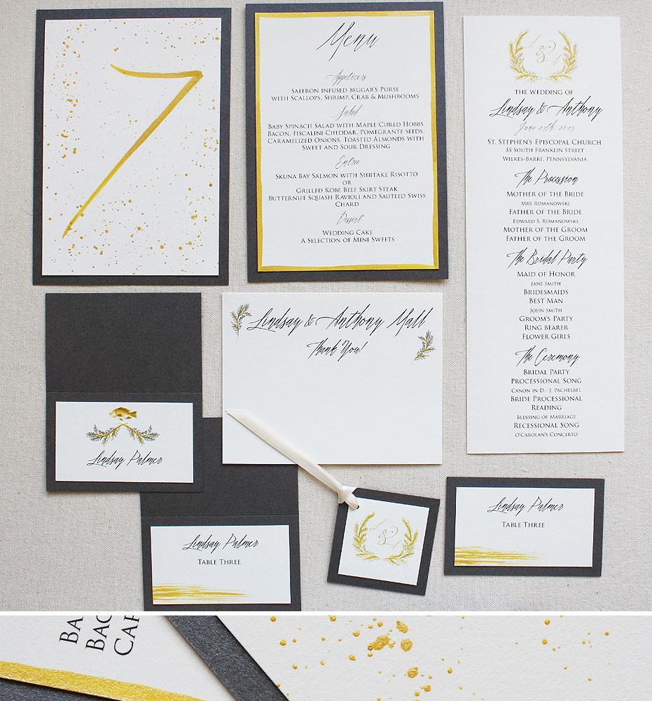 modern-gold-brushstroke-wedding-accessories