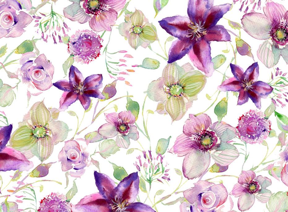 watercolor-flower-pattern-purple