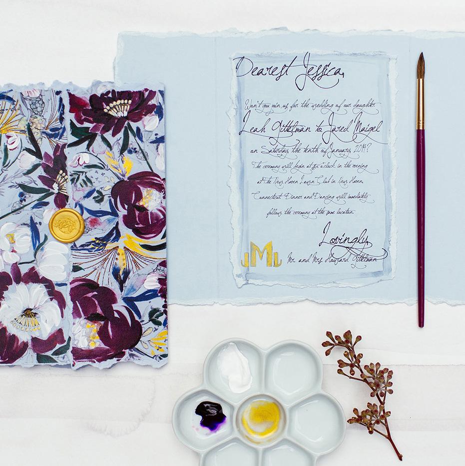 wine-peony-hand-painted-wedding-invitation