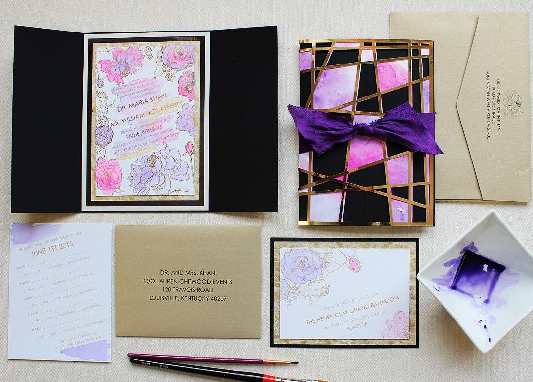 purple-glam-wedding-stationery