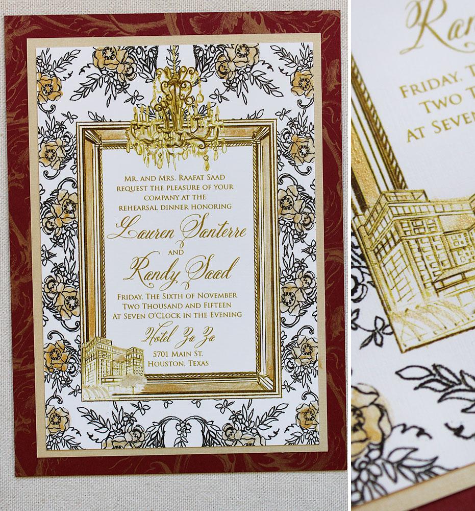 gold-frame-patterned-wedding-rehearsal-invite