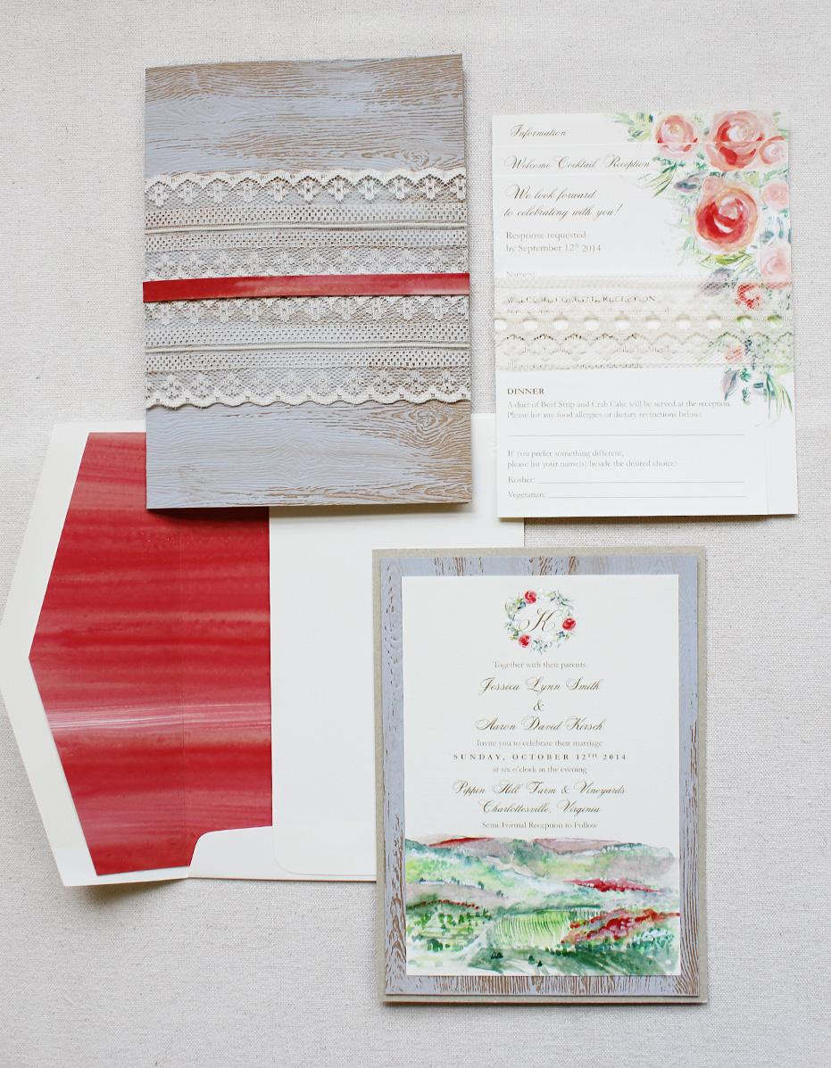 Pin It Lace Bark Watercolor Wedding Invitation
