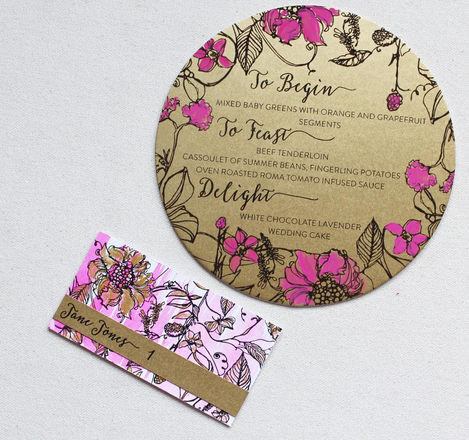 gold-fuchsia-wedding-menu