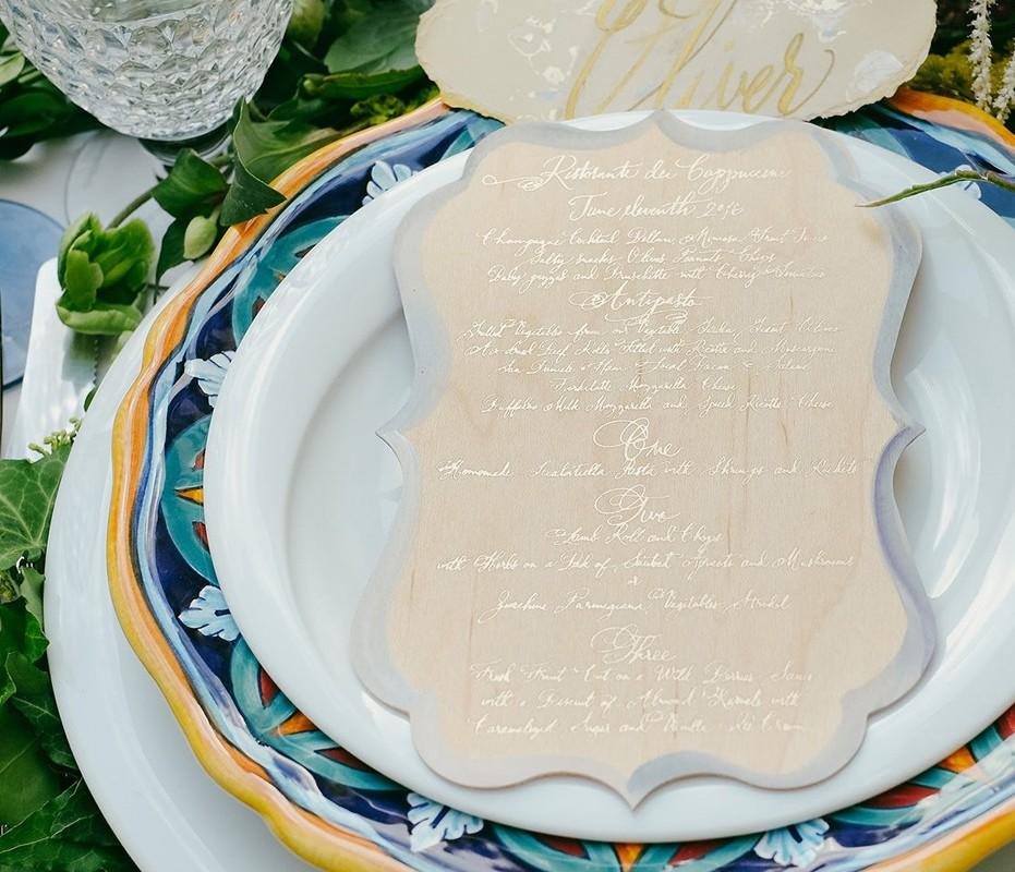 foil-wood-watercolor-wedding-menus