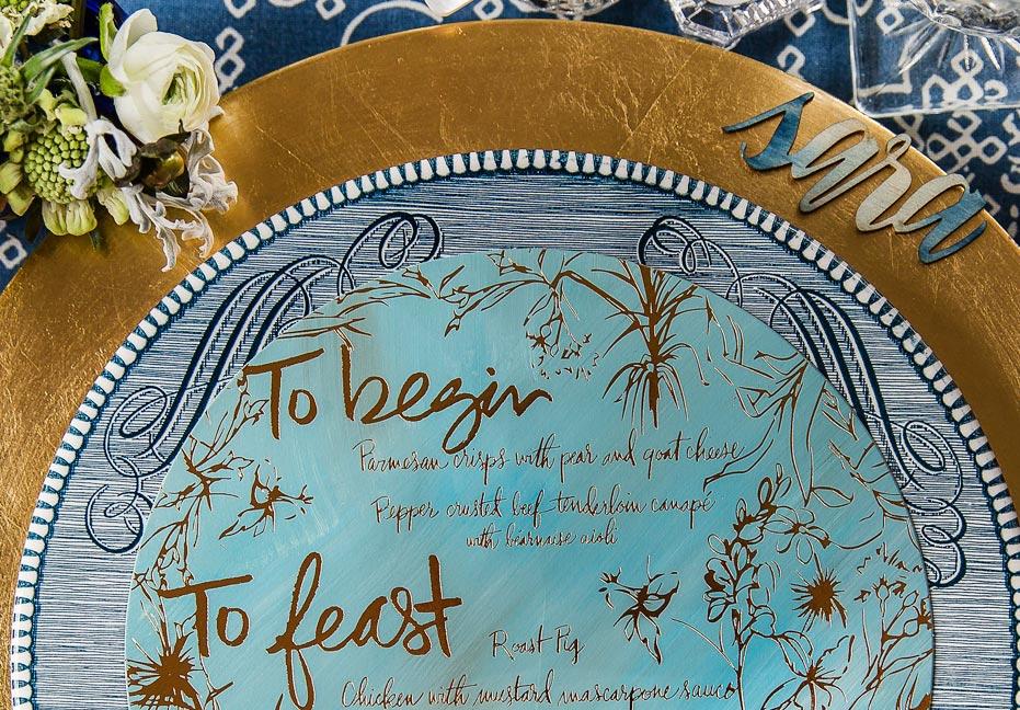 blue-gold-foil-wedding-menu