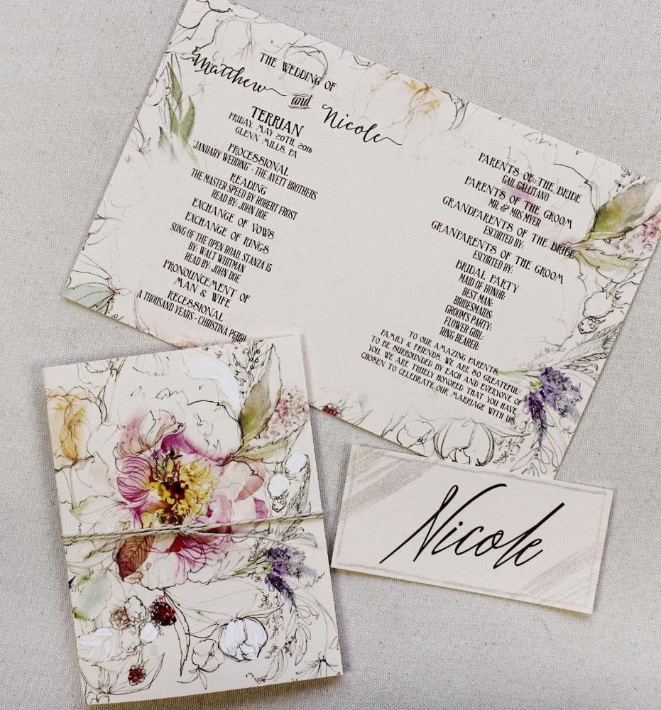 botanical-wedding-program