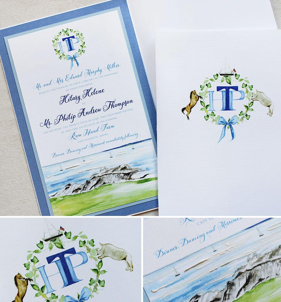 Nautical Monogram Wedding InvitationsMomental