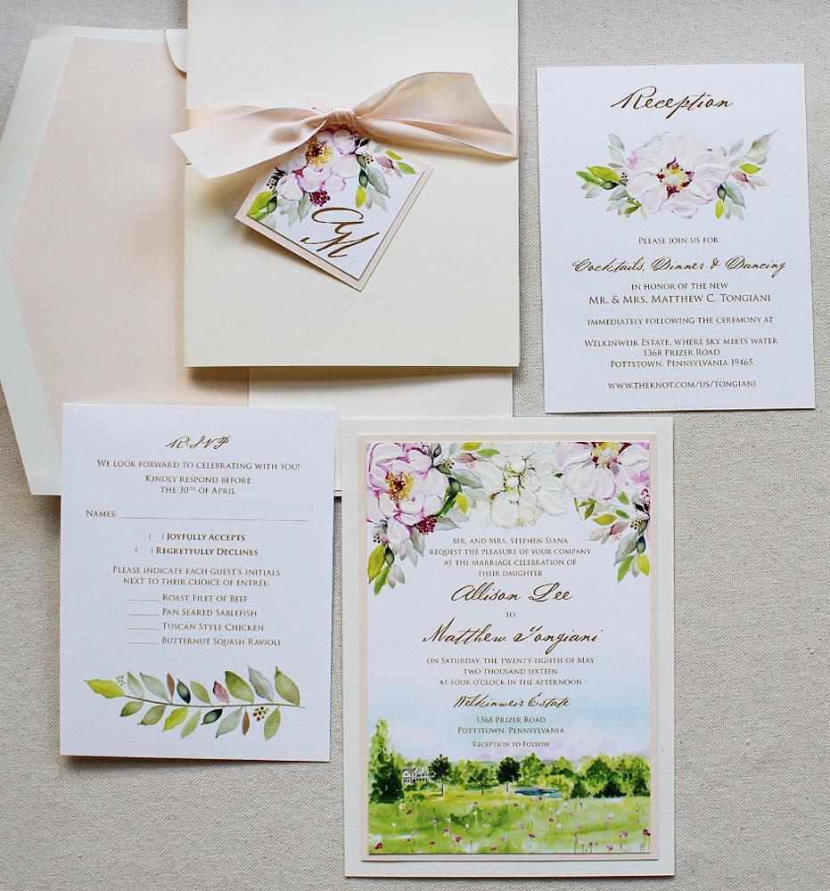 A K Into The Studio Peony Wedding Invitations Momental