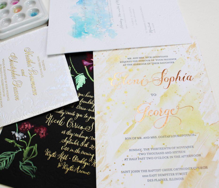 foil-letterpress-watercolor-wedding-invites