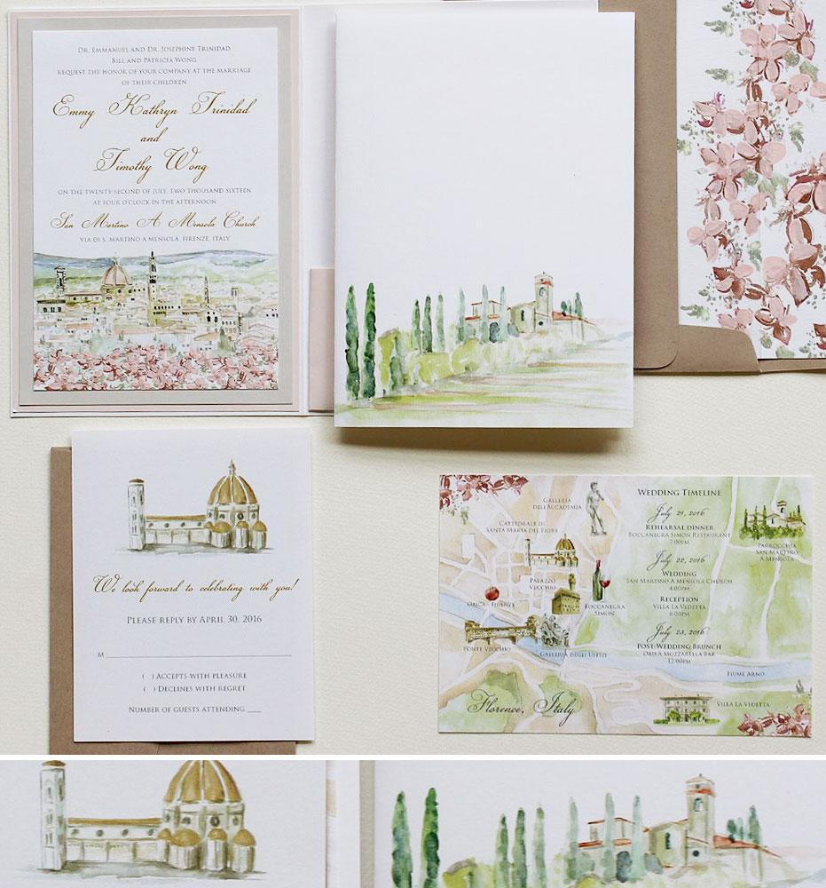 Watercolor Wedding InvitationsMomental Designs