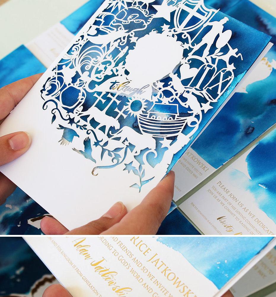 Watercolor and Laser Cut Dedication Invitations