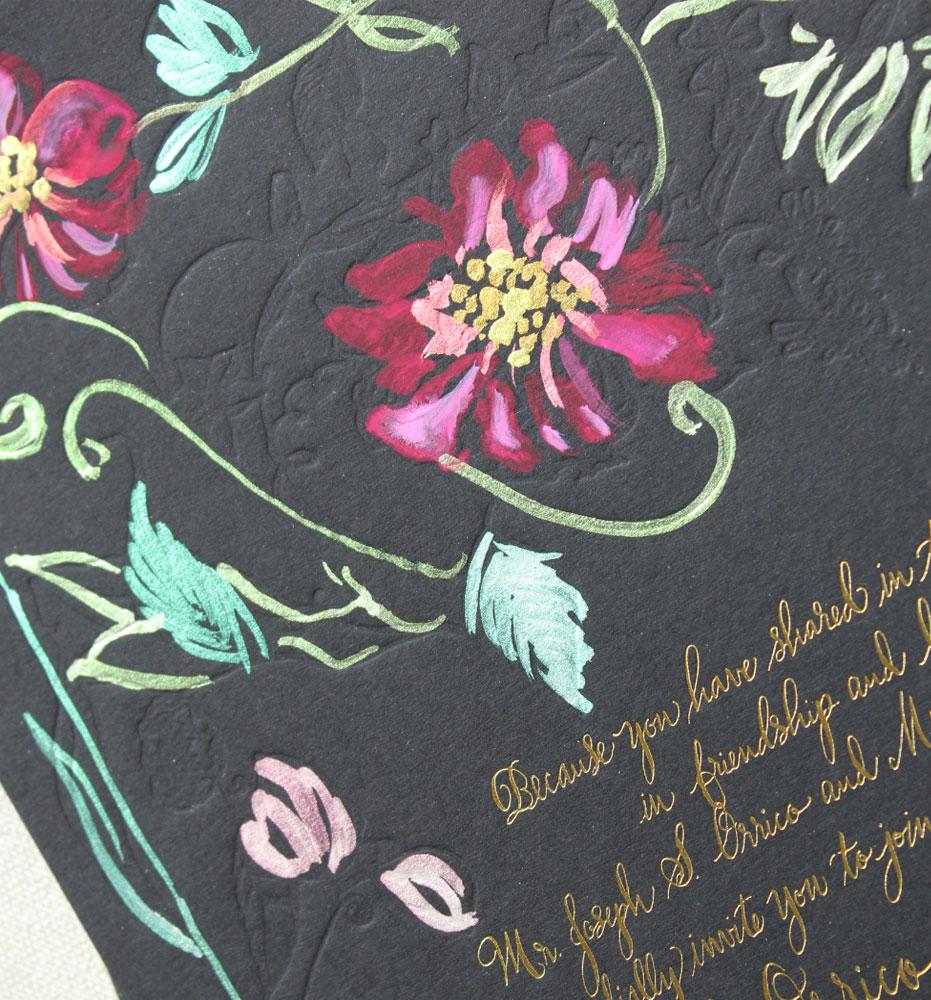 gold-black-fuchsia-wedding-invitations