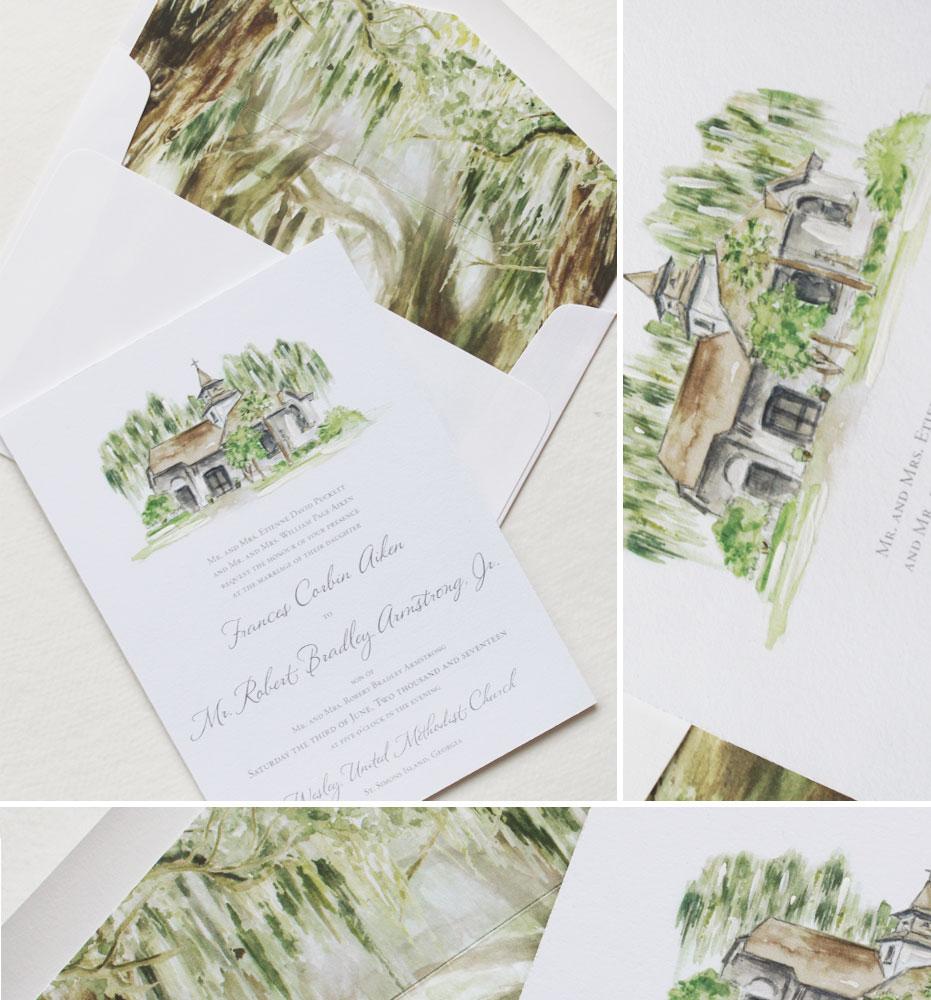 Wedding Invitation Tree: Watercolor Live Oak Wedding