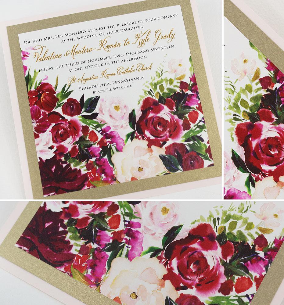 Burgundy Watercolor Floral Wedding Invitations