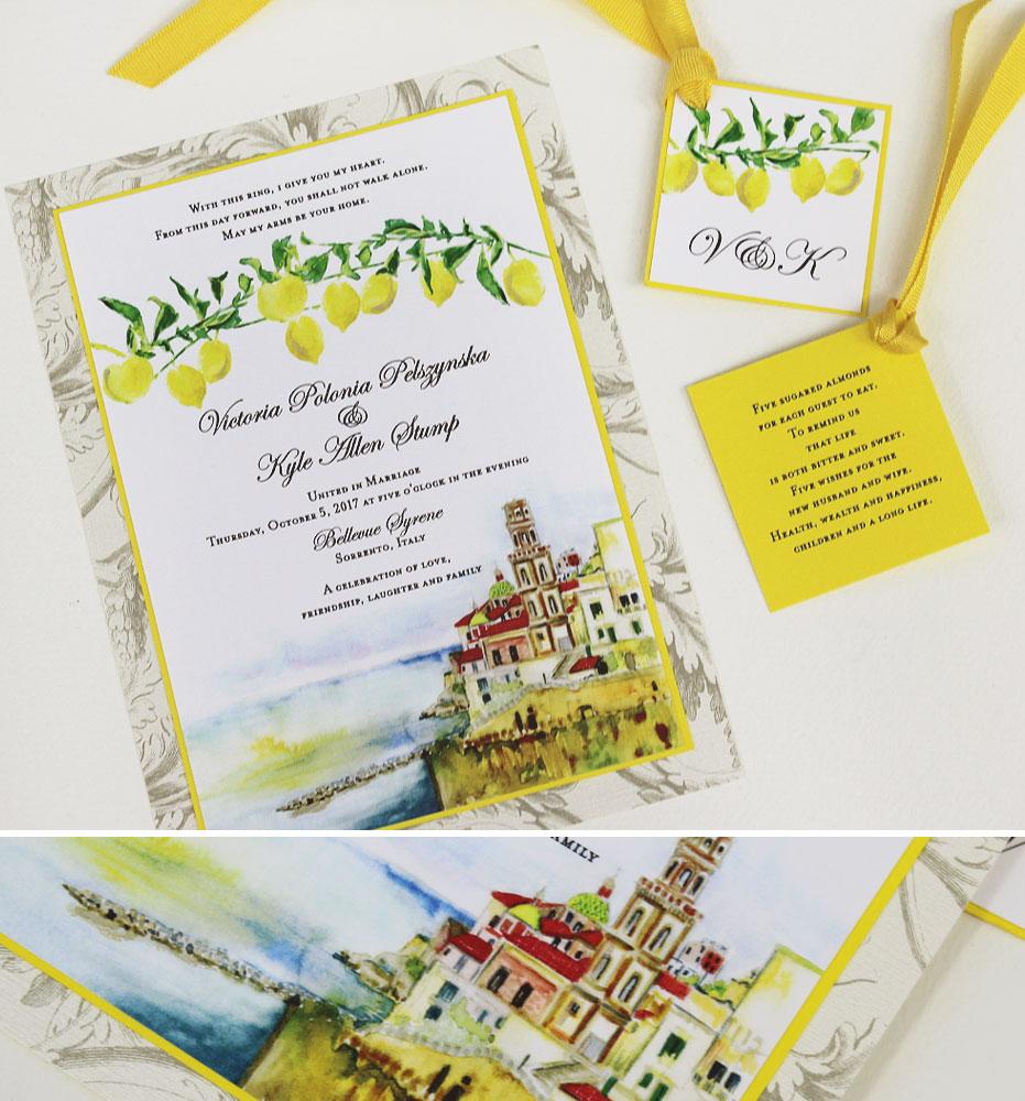 Watercolor Italy Destination Wedding Invitations