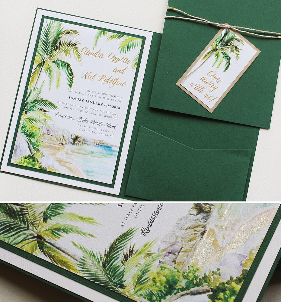 Watercolor Palm Tree Wedding Stationery