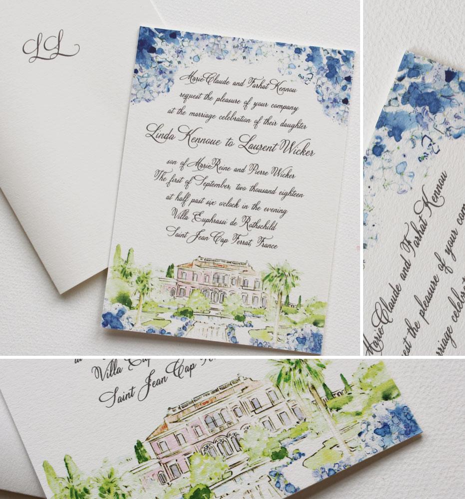 Watercolor France Destination Wedding Invitation