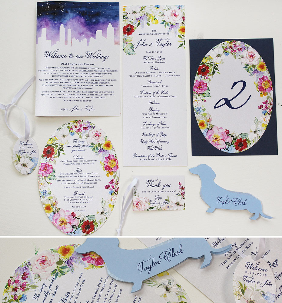 Watercolor Floral Wedding Day Accessories
