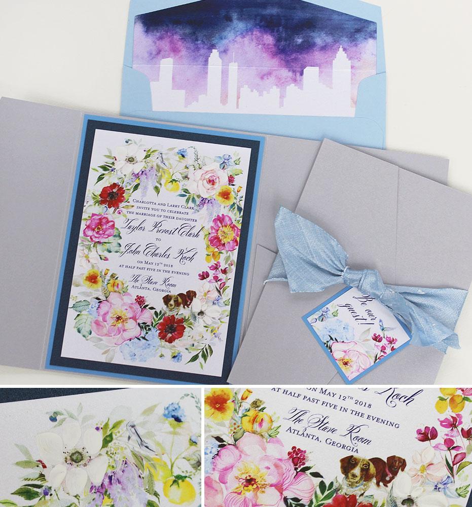 Watercolor Floral Wreath Wedding Invitation