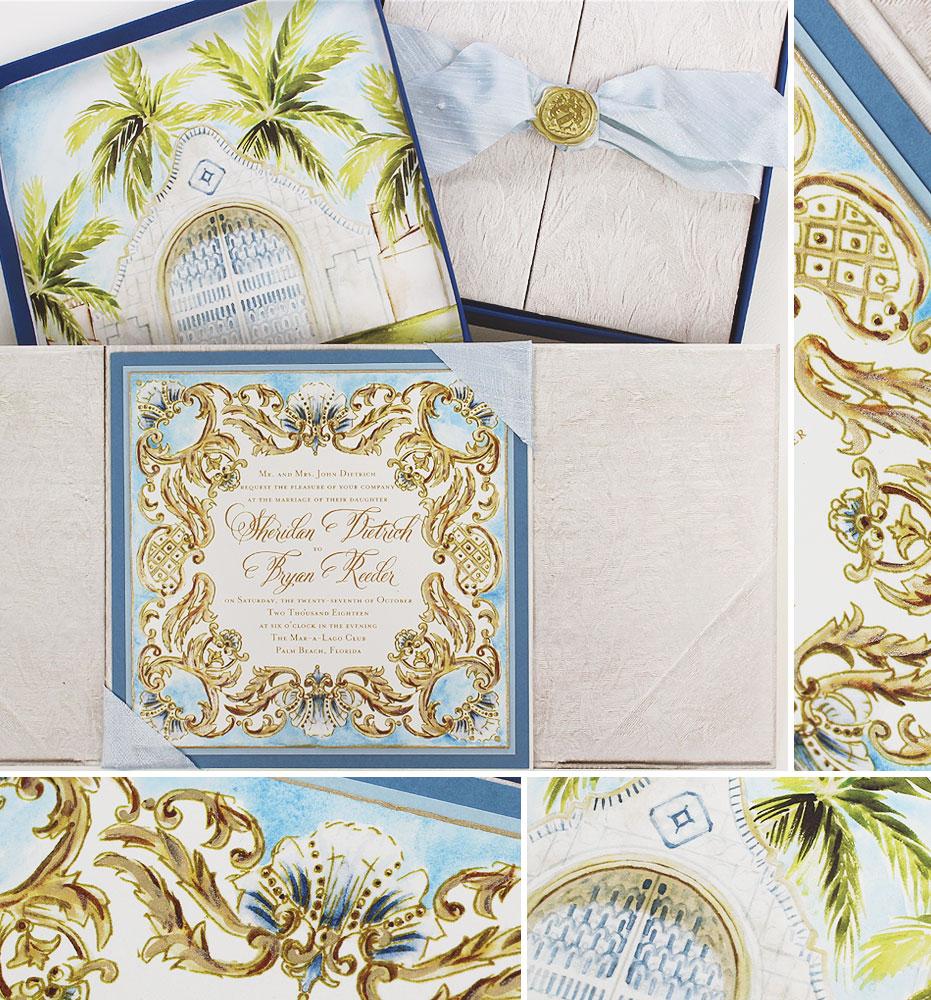 Gilded Frame Florida Destination Wedding Invitation