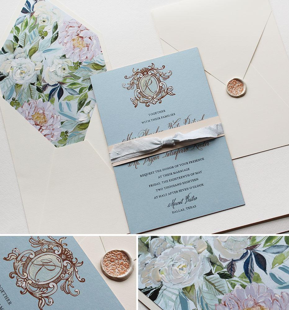 Hand Painted Rose Gold Foil Monogram Wedding Invitations