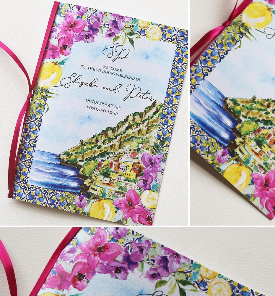 Hand Painted Amalfi Coast Wedding Programs