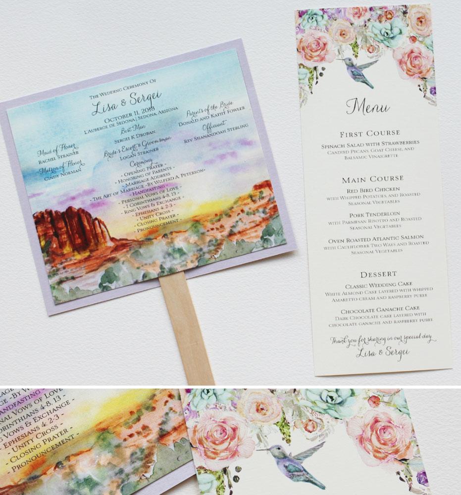 Watercolor Landscape Wedding Day Accessories