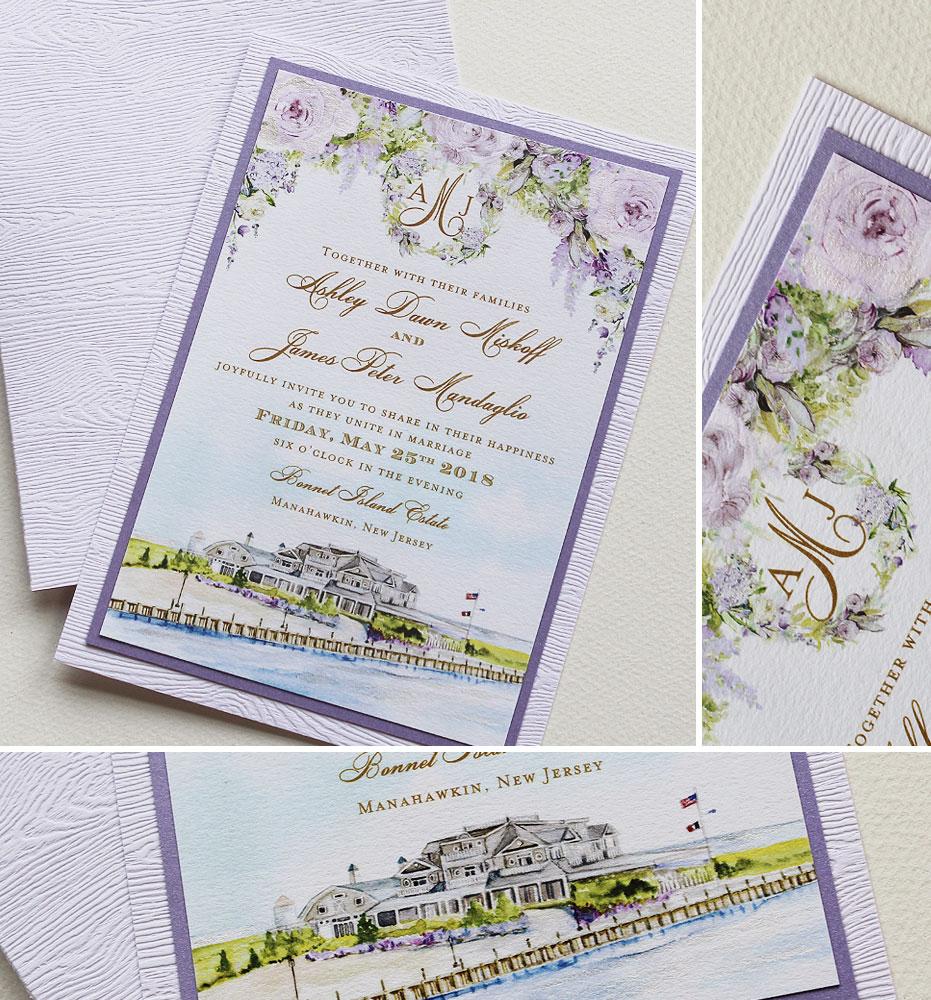 Watercolor Seaside Venue Wedding Invite