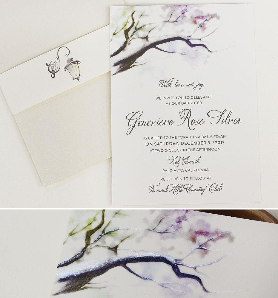 Watercolor Tree Bat Mitzvah Invitations