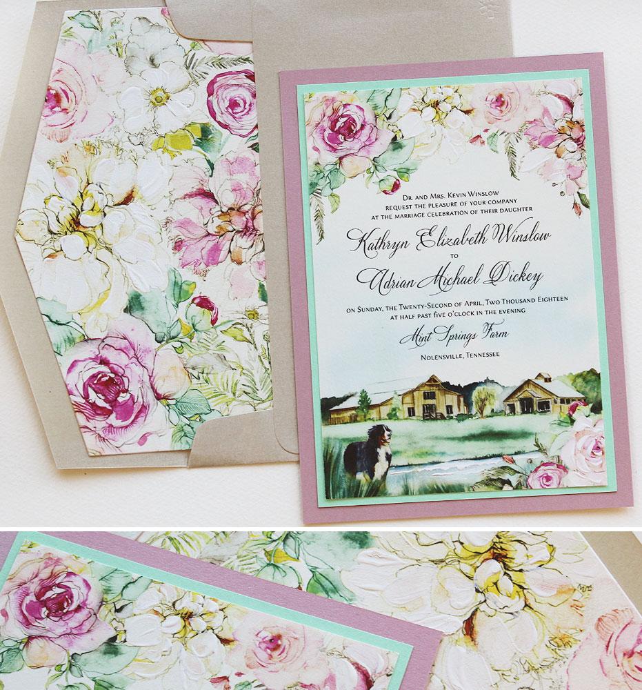Peony and Landscape Wedding Invitation