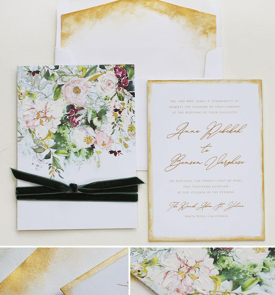 Watercolor Rustic Peony Wedding Invitations