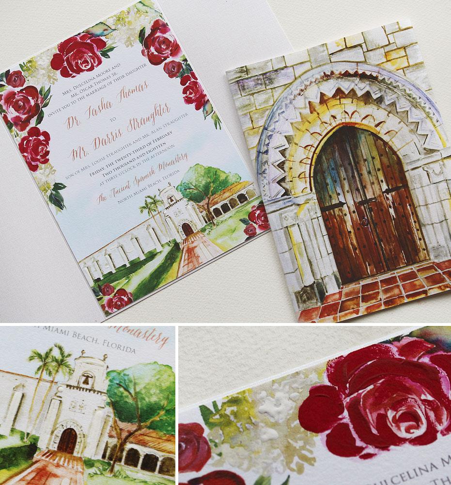 Ancient Spanish Monastery Watercolor Wedding Invitation