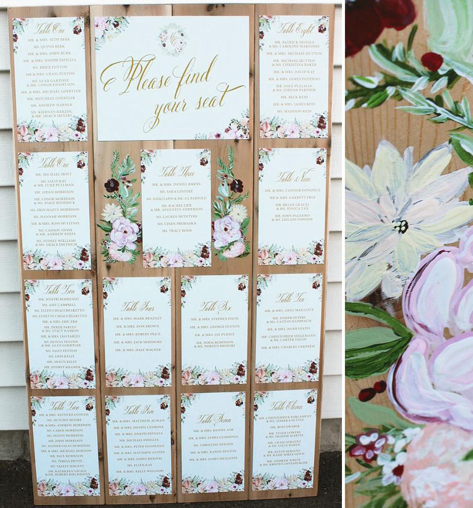 Hand Painted Wedding Seating Plan