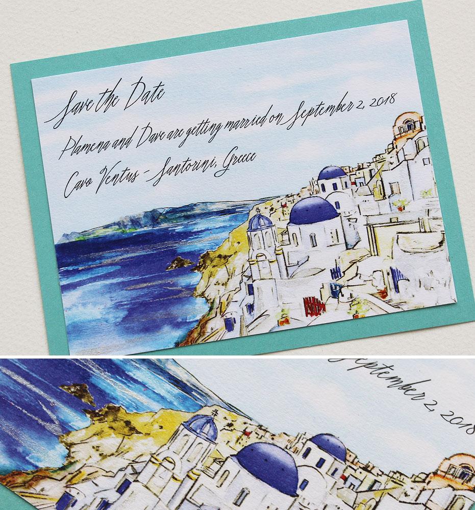 Santorini Wedding Save the Dates