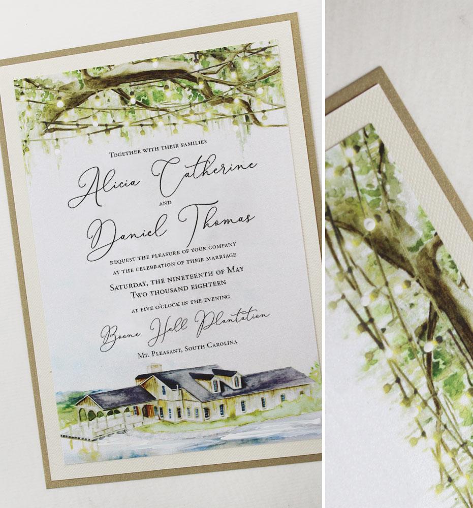 Watercolor Boone Hall Plantation Wedding Invitation