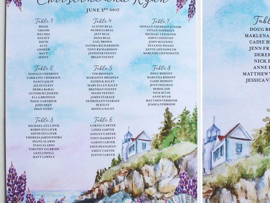 Maine Wedding Seating Chart