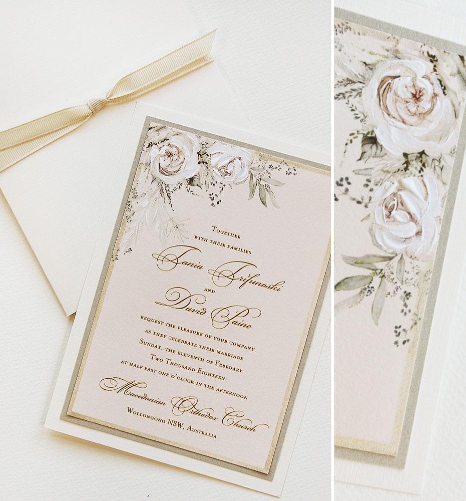 Soft Blush Watercolor Floral Wedding Invitations