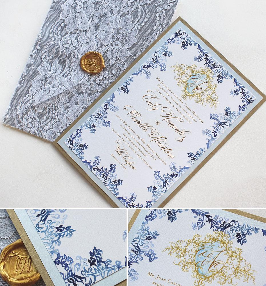 Watercolor Flourish Italy Wedding Invitation