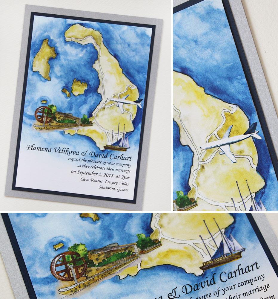 Watercolor Map Wedding Invitations