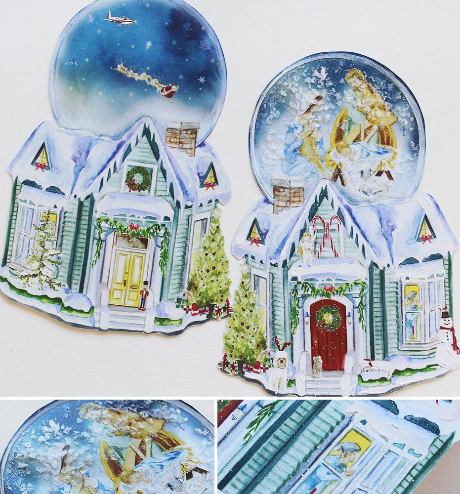 Watercolor Snowglobe Christmas Card