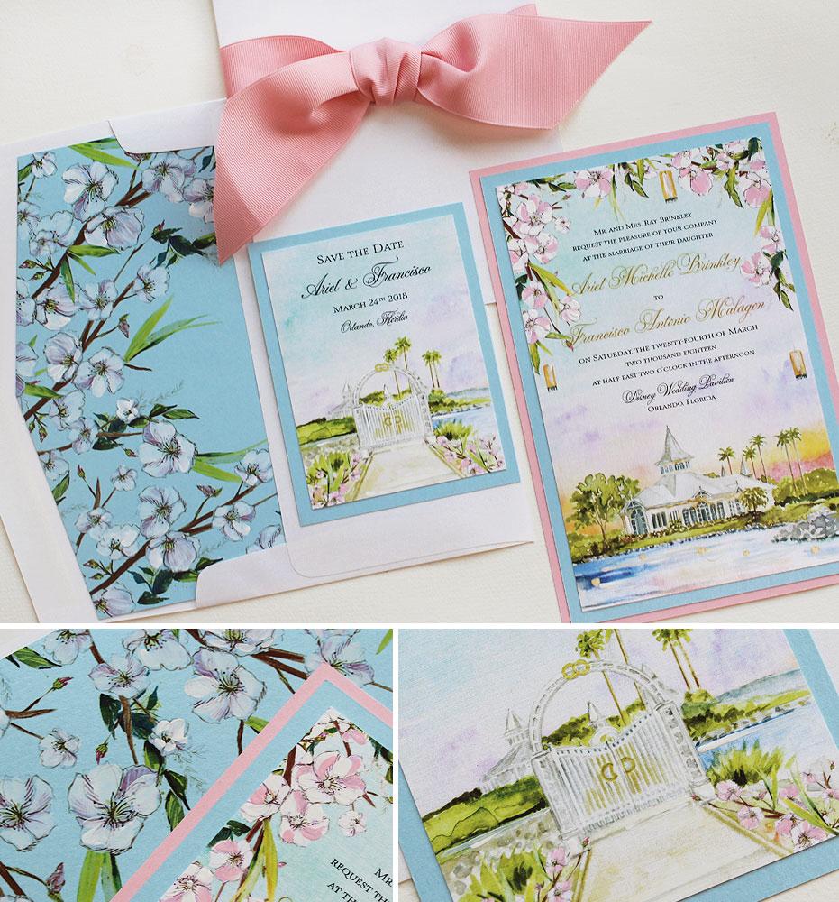 Watercolor Cherry Blossom Wedding Invitations