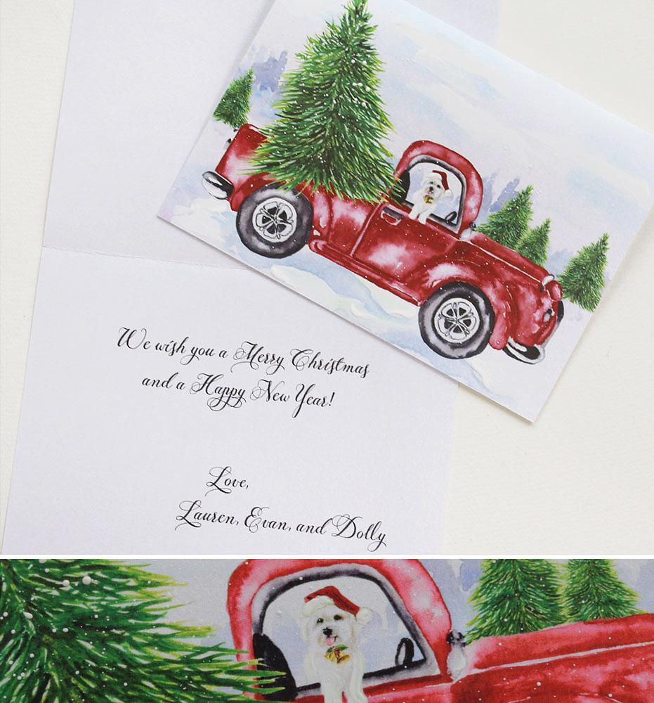 Watercolor Pet Portrait Christmas Cards