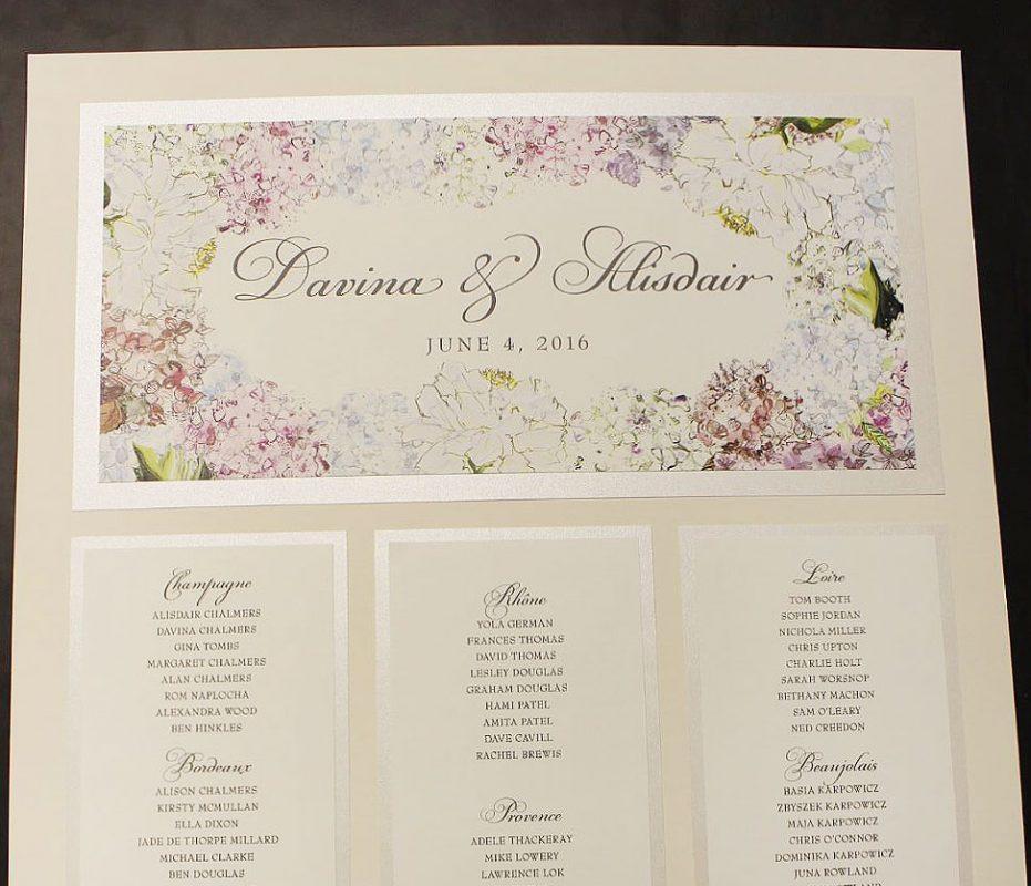 Hydrangea Wedding Seating Plan