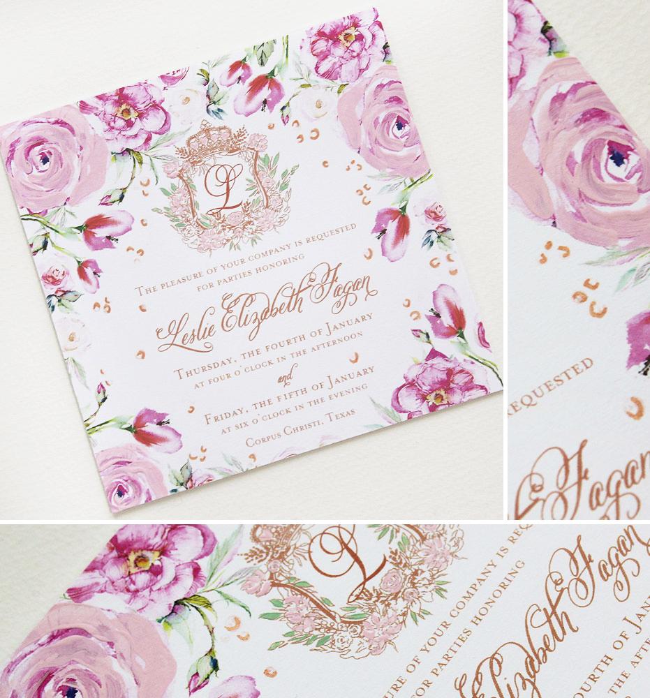 Pink Floral Debutante Ball Invitations