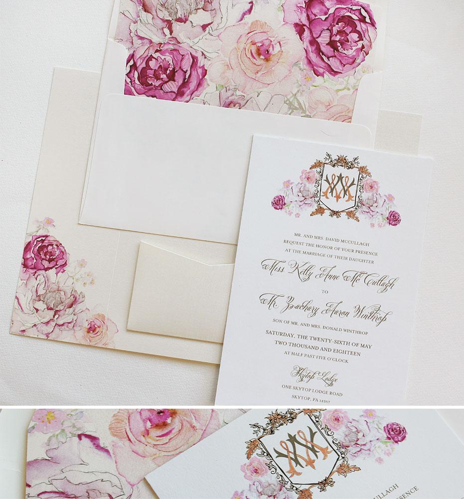 Monogram Crest Wedding Invitations