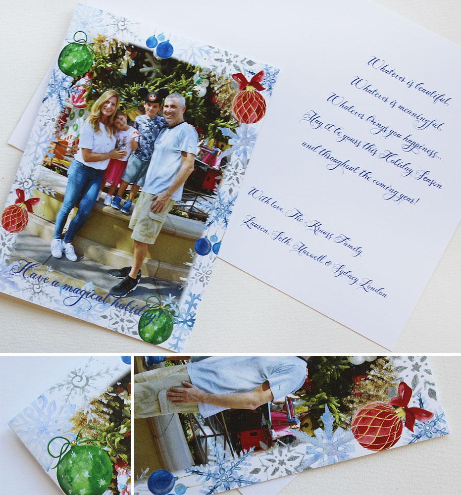 Custom Watercolor Christmas Holiday Cards