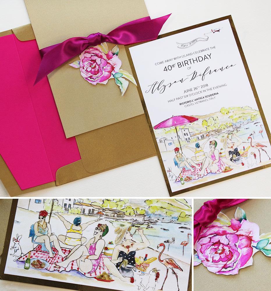 Custom Illustrated Fortieth Birthday Invitation
