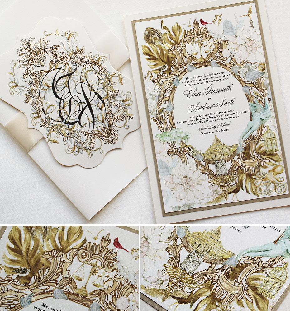 Gold Frame Wedding Invitation