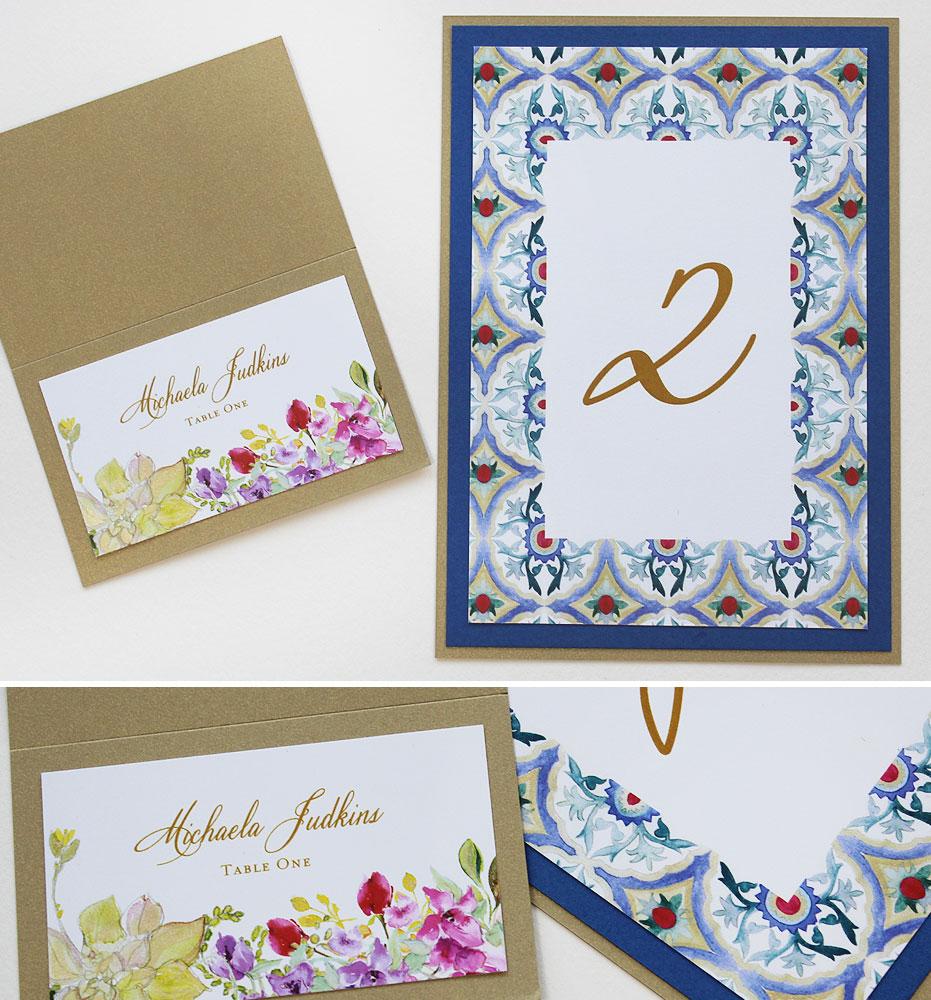 Tile Pattern Wedding Stationery