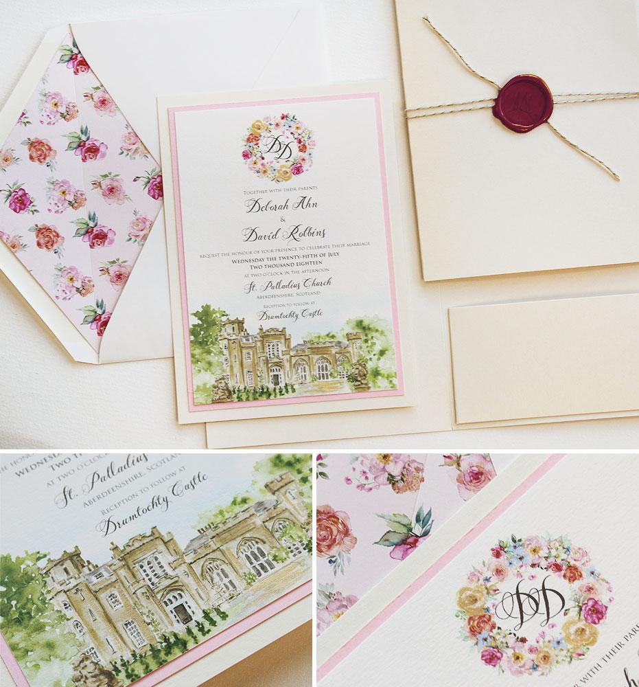 Floral Monogram Wedding Invitations